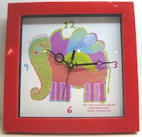 Gond Elephant_Akanksha Wall Clock - Square